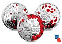 To commemorate 100 years since the end of WWI, this British Isles Three Coin Set has been released featuring a Peace Dove, the Last Post bugler, the Douglas War Memorial soldier and symbolic poppies.