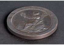 The 1797 Cartwheel Penny was the first British penny to be struck in copper. The coin was struck during George III's reign and only ever featured the date 1797. The coin weighs 28.3g.