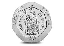 Gibraltar Our Lady of Europa 20p coin designed by Alfred Ryman.