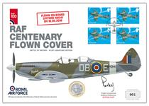 UK Coin Cover to commemorate the Battle of Britain that has been flown on board Spitfire NH341. Features 4 of Royal Mail's 2018 Hurricane 1st Class stamp and The Royal Mint's 2018 Spitfire £2 coin.