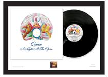 Limited Edition A2 Presentation Frame contains a pristine, unplayed A Night at the Opera Vinyl album & GB 1999 Freddy Mercury stamp. Comes professionally framed and ready to hang. Edition limit: 250.