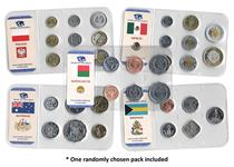 Money of the World coin packs Lucky Dip. 29 different sets of circulation coins from 29 countries.
