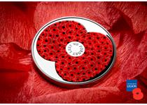 To commemorate the 100th Remembrance Day, this silver £5 coin has been issued featuring the Royal British Legion's poppy, filled with 99 red poppies to mark 100 years. Struck to proof finish.