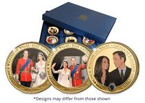 This set of 12 coins features full colour photographs of significant events from Will and Kate's engagement onwards. These coins are platedwith 24 carat gold. It will be presented in a collection case