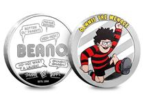 Beano is the longest running British children's comic and this silver-plated commemorative features Dennis the Menace himself, portrayed in full colour. Edition limit: 19,500.