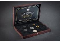 The Royal Australian Mint Prestige Set celebrates the Golden anniversary of the Royal Australian Mint and comprises a set of 6 commemorative coins from the 5c to the $2 alongside an original 1966 50c.