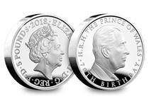The official UK coin to celebrate HRH The Prince of Wales 70th birthday. Reverse features new portrait of Prince Charles by Robert Elderton. Obverse by Jody Clark. Silver Proof finish.