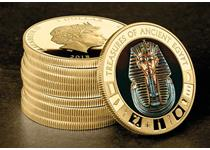 Issued in 2018, this coin has been expertly plated in 24ct gold and features a full-colour image of ancient Egyptian pharaoh Tutankhamun's famous death mask, surrounded by engraved hieroglyphics.