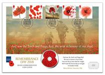 Silver Coin Cover issued to mark Remembrance Day. Features Royal Mail's 2014-2018 Poppy Stamps and the British Isles officially licensed RBL Silver £5 Coin. Postmarked on Remembrance Day. EL: 250