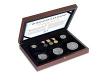 Own a set of 5 1914 silver coins and 3 replica medals. Includes half crown, florin, shilling, sixpence and threepence. Medals include 1914-15 Star, 1914-18 British War Medal and 1914-19 Victory Medal.