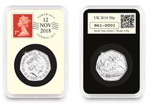 This 2018 DateStamp 50p features the Snowman 50p issued by The Royal Mint. It is postmarked with the date 12th November 2018 to mark 40yr since the publishing of Raymond Briggs iconic children's book.