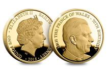 To celebrate the 70th birthday of His Royal Highness Prince Charles this gold proof £1 coin has been issued featuring a brand new portrait by renowned sculptor Luigi Badia for the occasion.