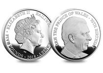 To celebrate HRH The Prince Of Wales 70th birthday this silver proof £5 coin has been issued featuring a brand new portrait of Prince Charles by renowned sculptor Luigi Badia.