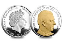 To celebrate the 70th birthday of our future king HRH The Prince of Wales, this brand-new £5 coin issued by Guernsey has been specially commissioned. Selectively highlighted in 24ct gold ink.