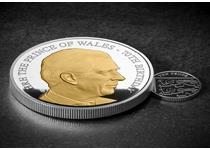 To celebrate His Royal Highness The Prince of Wales' 70th Birthday this silver proof 5oz coin has been issued featuring a brand new portrait and has been selectively plated in 24ct gold.