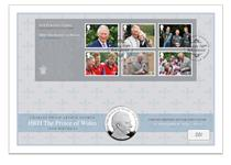 Silver Coin Cover celebrating Prince Charles birthday. Features Royal Mail 2018 Prince Charles Mini Sheet & The Royal Mint's 2018 Prince Charles £5 coin. Postmarked on his birthday 14.11.18. EL: 500.
