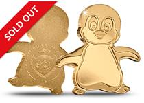 Gold has never been so cute - this small coin has been struck from half a gram of pure .9999 gold in the shape of a little Emperor penguin with engraved features.