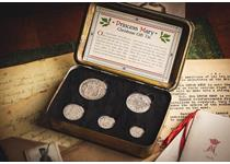 This set contains a complete 5 coin silver coin set each dated 1918. These coins come presented in an original Princess Mary Christmas Tin which was given as a present to troops during the Great War.