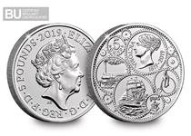 This £5 was issued in 2019 to celebrate the 200th Anniversary of the birth of Queen Victoria and is struck to a Brilliant Uncirculated quality.
