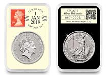 This UK 2019 1oz Silver Britannia DateStamp has been postmarked by Royal Mail for 1st January 2019. It comes in a wooden box, in a tamperproof capsule with a Certificate of Authenticity. EL: 500.