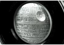 Officially licensed Star Wars coin featuring the Death Star, in ultra-high relief and struck with incredible detail from 2oz fine silver to a proof finish. Officially licensed by Lucasfilm. EL: 5,000.