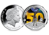 Issued to commemorate 50 years since man landed on the moon. Featuring image of Astronaut on Moon's surface with '50' in bold letters behind.