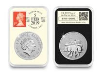 This UK 2019 1oz Silver Year of the Pig DateStamp has been officially postmarked by Royal Mail with the date 05/02/2019 to celebrate the Chinese New Year. Edition limit: 188.