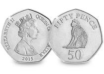 This 50p coin was issued in 2016 and features the famous monkey (Macaca Sylvanus) which originates from the African Atlas mountains and was bought to Gibraltar 1,000 years ago.
