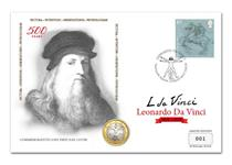 Cover issued to commemorate 500 years since Leonardo Da Vinci's death. Features Royal Mail's 2019 Da Vinci stamp and the Italian Da Vinci 1 euro coin. Postmarked first day of issue 13/02/19. EL: 750.