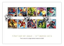Collector Card featuring Royal Mail's brand new 2019 Marvel 1st class 10v stamps. The stamps feature fan favourites like Captain Marvel, Iron Man, and Black Panther. Postmarked 14.5.2019. EL: 9,995.