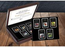 Royal Mail's 2019 MARVEL 1st Class 10v stamps come protectively displayed in their own tamper-proof capsule with specification cards, complete in a deluxe presentation box and Certificate.EL: 1,995.