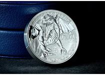 This coin has been minted from 2oz of fine silver with double high relief, featuring an incredibly detailed engraving of a mythical dragon, set off with stunning reverse proof finish. EL: 1,500