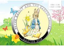 The brand new Easter medal. The reverse features a colour image of Peter Rabbit with Easter chicks, the obverse features the Peter Rabbit logo. Struck from .925 silver. Edition limit: 995.