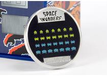 Issued to celebrate the 40th Anniversary of Space Invaders. This 1oz fine silver coin incorporates lenticular printing to allow the coloured aliens to move as the coin is rotated at different angles.