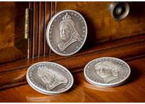 The designs of each of the three coins have been inspired by the Queen Victoria sovereigns which featured portraits of Queen Victoria throughout her reign. Created by renowned sculptor Luigi Badia.