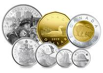 Issued by the  Royal Canadian Mint to mark 75 years since D-Day. With a Silver Proof dollar struck from 99.99% Silver with selective colouring and base metal 2 dollars, 1 dollar, 50, 25, 10 & 5 cents.