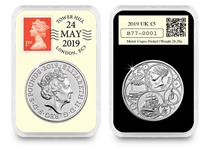 2019 DateStamp £5 features the Queen Victoria £5 issued by the Royal Mint. It is postmarked with the date 24th May 2019 to mark 200 years since Queen Victoria's birth. It is protectively encapsulated.