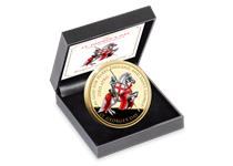 To celebrate St. George's Day 2019 this 24 Carat Gold-Plated medal features St. George on horseback, with the words 'Cry God for Harry, England, and St. George' around the design. Edition limit: 2,019