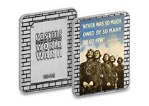 "To commemorate the outbreak of WWII 80 years ago, an iconic propaganda poster with the words ""Never was so much owed by so many"", has been recreated on a silver-plated ingot."
