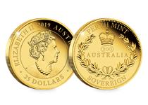 Issued by the Perth Mint, the 2019 Australian Sovereign has been struck in 22 carat gold to a proof finish. The coin has been issued in 2019.