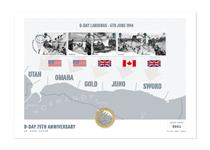 The D-Day UK Coin Cover marks the significant 75th Anniversary of D-Day. Features the Royal Mail D-Day Anniversary Miniature Sheet and The Royal Mint 2019 D-Day £2 coin.  Edition Limit: 1000
