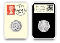 This 2019 DateStamp 50p features the Sherlock Holmes™ 50p issued by The Royal Mint. It is postmarked with the date 22nd May 2019 to celebrate 160 years since the birth of Sir Arthur Conan Doyle.