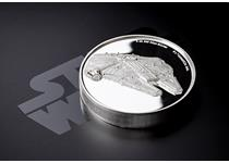 This officially licensed Star Wars coin is struck from 2oz of fine silver and features the Millennium Falcon in ultra high relief. Incredibly detailed with convex surface. EL: 5,000.