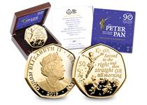 The Official Peter Pan Gold Proof 50p Coin