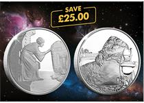 This Star Wars coin pair includes the Official Princess Leia and Jabbathe Hutt 1oz Silver Proof coins.