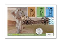 To celebrate the 2019 Cricket World Cup, this cover features the official ICC 50p, along with the Royal Mail Cricket stamps and the UK Three Lions Definitive stamp. Postmarked: 30.05.19. EL: 1000.