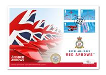 UK Coin Cover to commemorate the Red Arrows. Features Royal Mail's 2018 Red Arrow Miniature Sheet and The Royal Mint's 2018 RAF commemorative £2 Coin. Postmark: 20.03.18 Edition limit: 495.