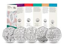 BU Pack issued by the Royal Mint to mark the 50th Anniversary of the 50p. Includes 5 Military themed 50ps struck in base metal to a BU finish, and come in official Royal Mint presentation pack