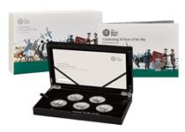 This set is issued by The Royal Mint to mark the 50th anniversary of the 50p. Your set is struck in .925 Sterling Silver to a Proof finish and includes 5 iconic 50p designs. Mintage of 1,969.