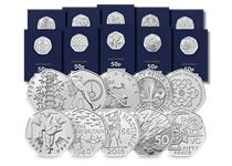 The 2019 50th Anniversary of the 50p CERTIFIED BU Complete Coin Set includes all ten brand new 50p coins that have been re-issued by The Royal Mint in 2019.